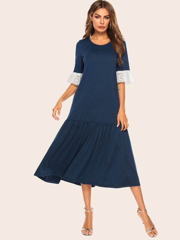 Contrast Lace Flounce Sleeve Ruffle Hem Midi Dress, null