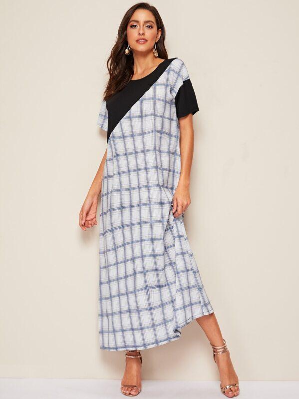 Grid Print Drop Shoulder Dress, Mary P.