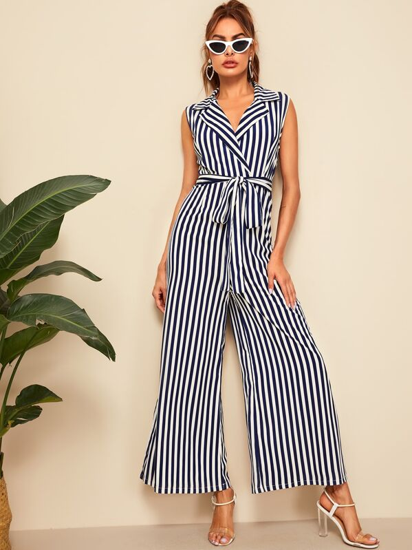 Striped Belted Notched Collar Wide Leg Jumpsuit, Andy