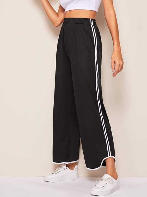 Tuxedo Stripe Side Wide Leg Pants, Black, Mary P.