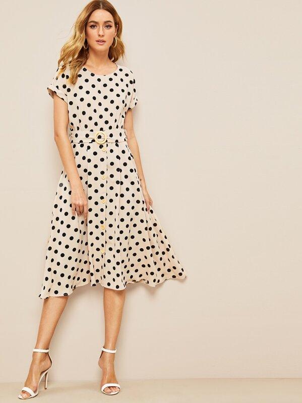 60s Polka Dot Print Button Front Ring Belted Dress, Rasa B