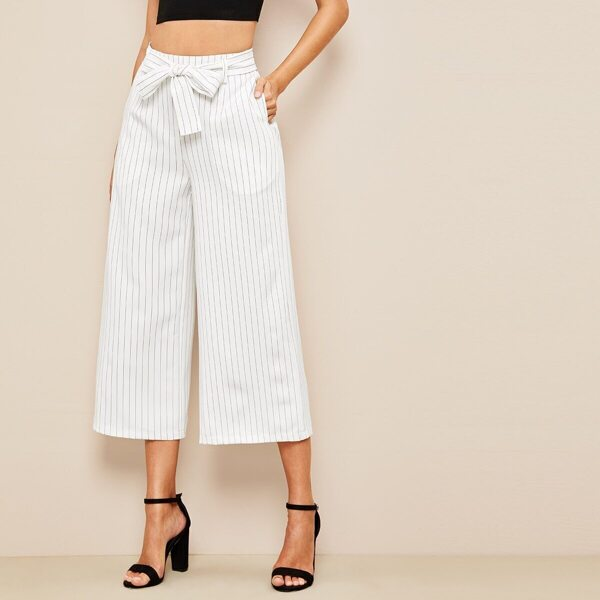 Vertical Striped Belted Wide Leg Crop Pants