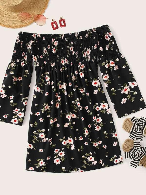 Ditsy Floral Shirred Off The Shoulder Dress, null