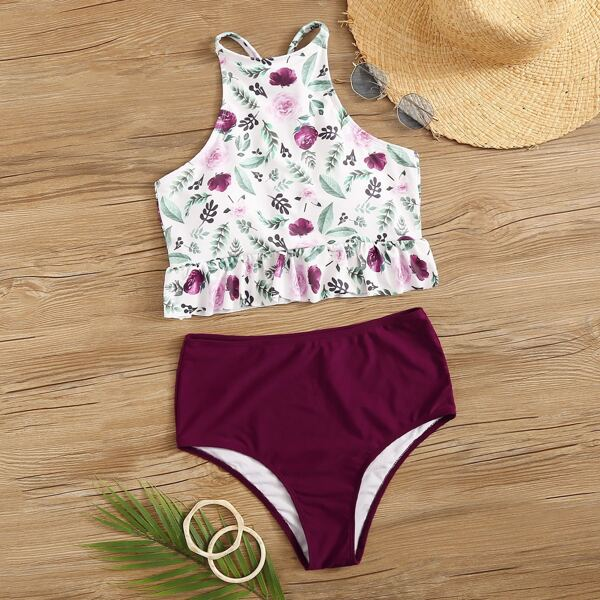 Random Floral Peplum Top With High Waist Bikini Set
