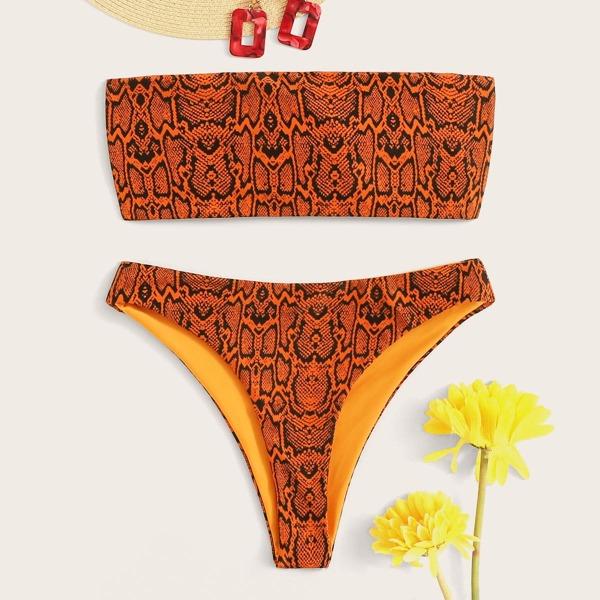 Snakeskin Print Bandeau Bikini Set