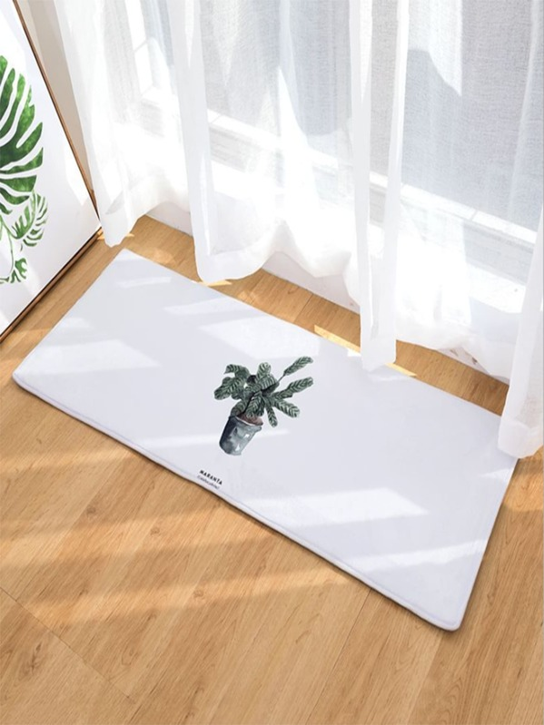 Potted Plant Print Floor Mat, null