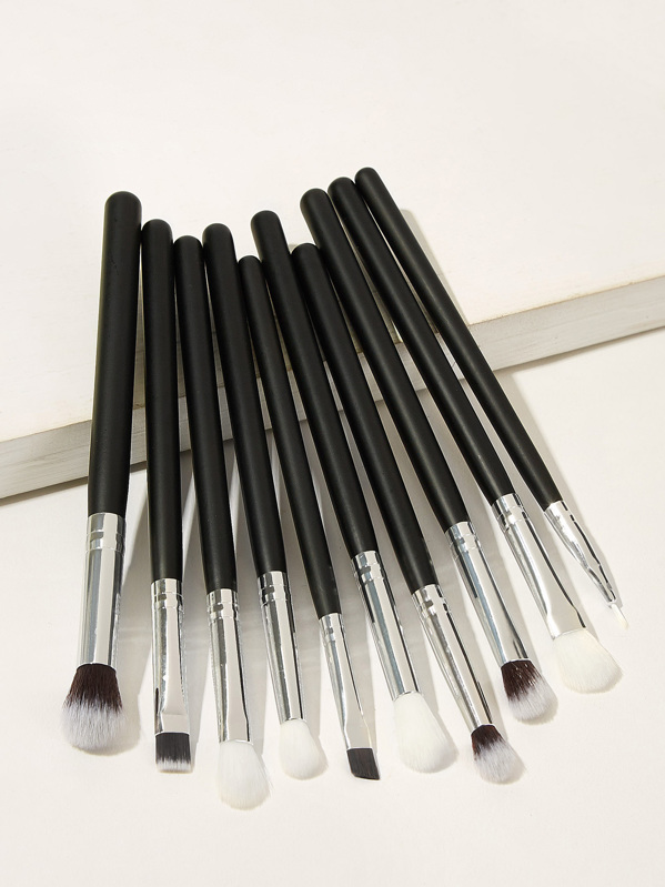 Two Tone Handle Eye Makeup Brush 10pack, null