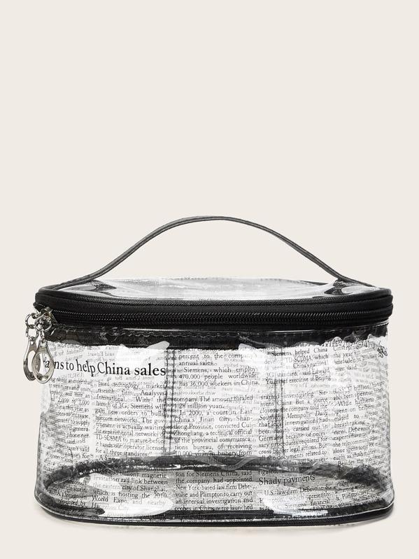 Letter Print Transparent Makeup Bag