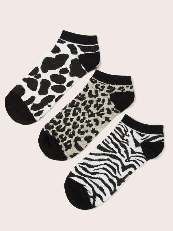 Leopard & Zebra Pattern Ankle Socks 3pairs, null