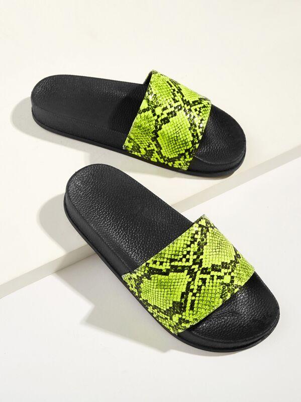 Snakeskin Pattern Neon Flat Slippers