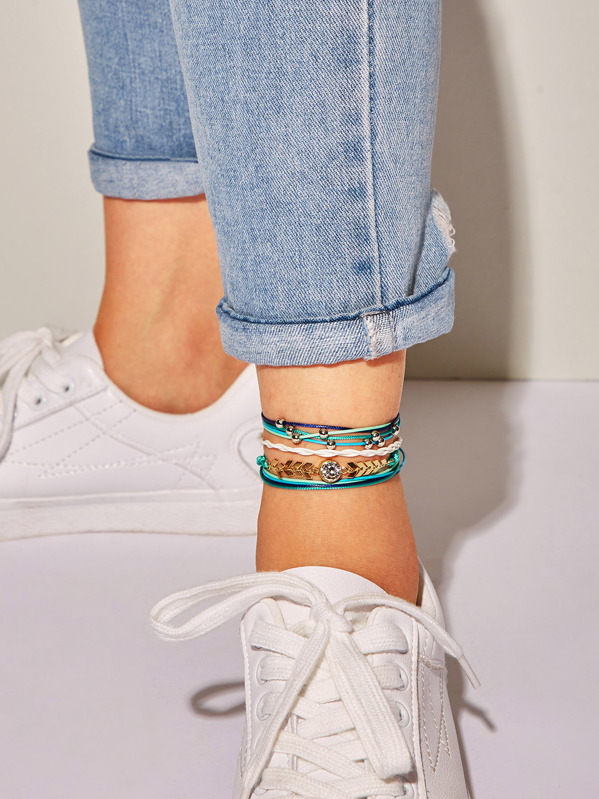 Rhinestone Detail Layered String Anklet 4pcs, Multicolor