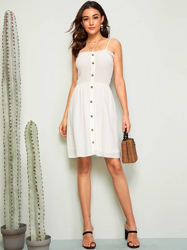 Button Front Frill Trim Shirred Slip Dress, Barbara C