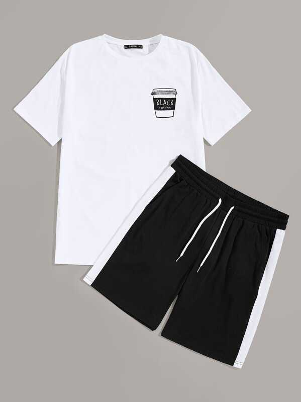 Men Graphic Tee and Contrast Sideseam Shorts PJ Set