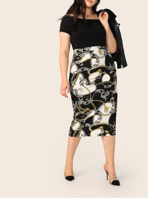 Plus Chain Print Pencil Skirt, Yumi