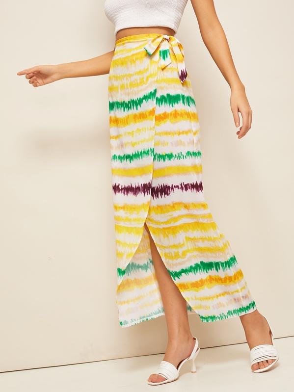 Tie Dye Striped Self Tie Wrap Skirt, Multicolor, MARTINA