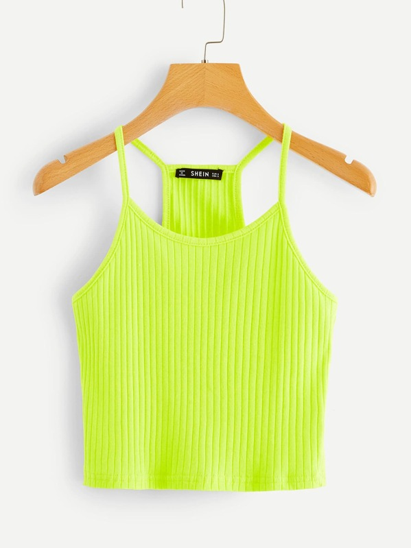 Neon Lime Rib-knit Halter Top, Green