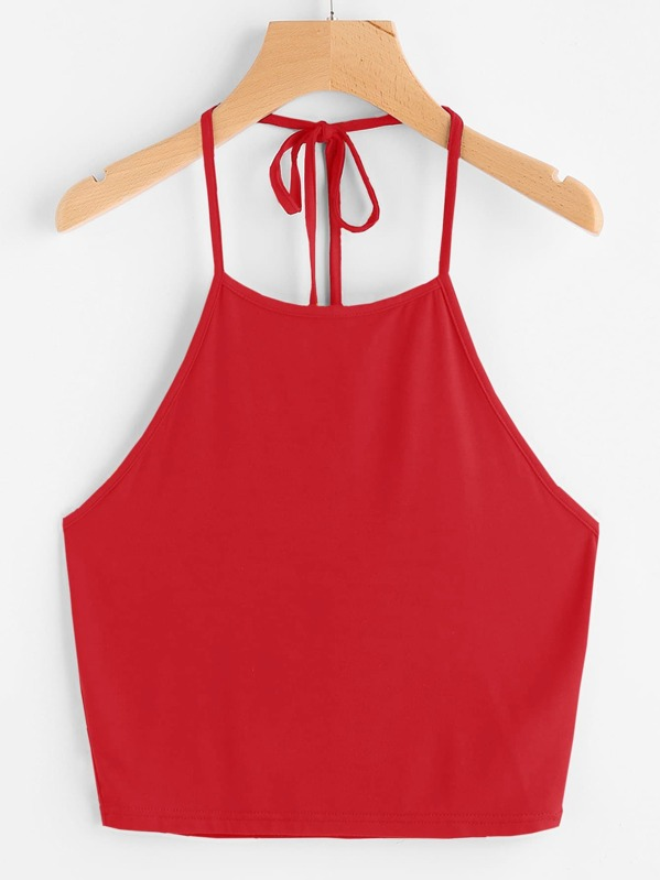 Tie Back Halter Top, Red