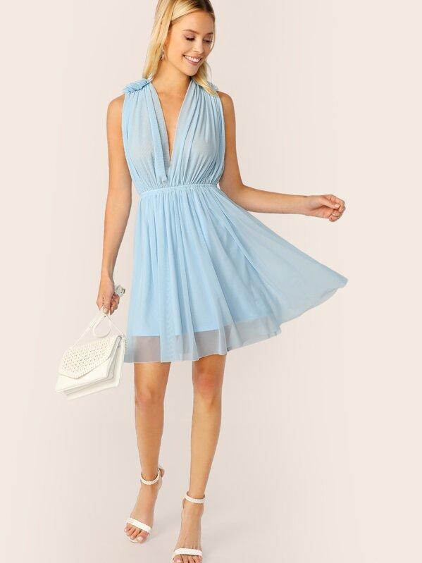 Double V Neckline Frill Trim Dress, Blue, Allie Leggett
