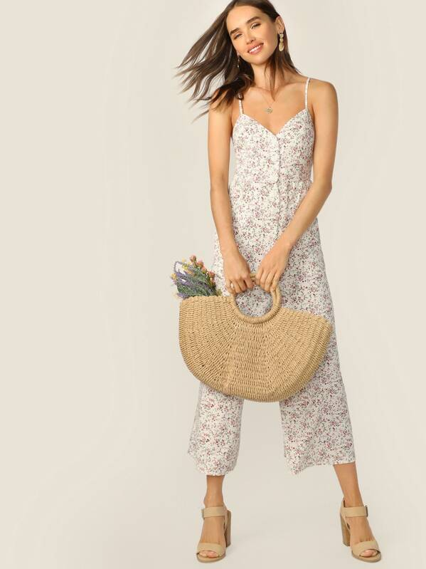 Ditsy Floral Button Front Wide Leg Cami Jumpsuit, Carolina Sanchez