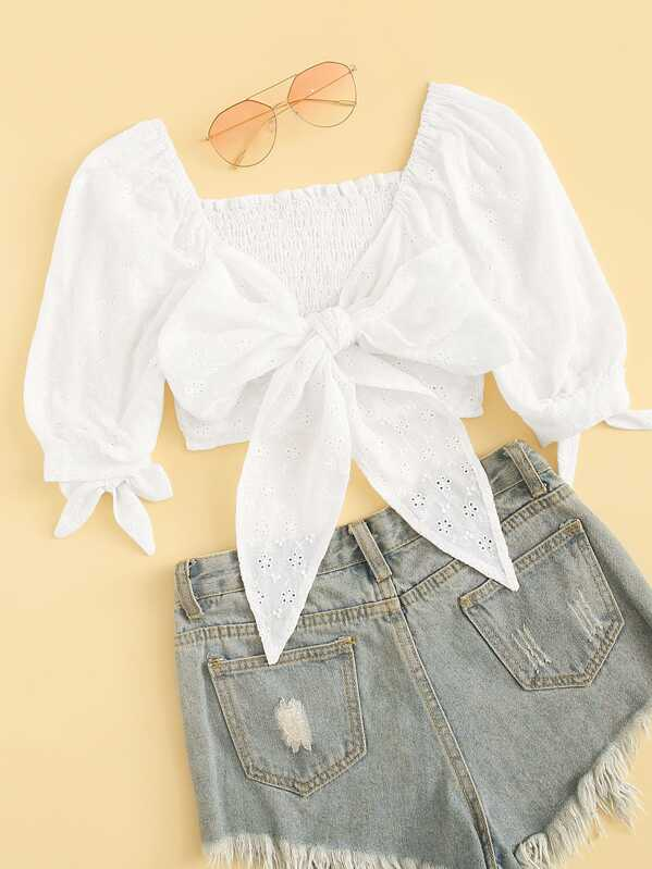 Eyelet Embroidery Tie Front Shirred Crop Blouse, null