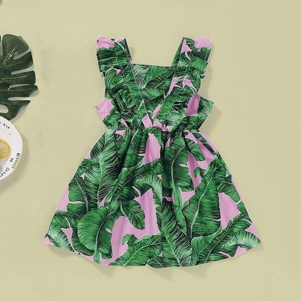 Toddler Girls Tropical Print Elastic Waist Dress