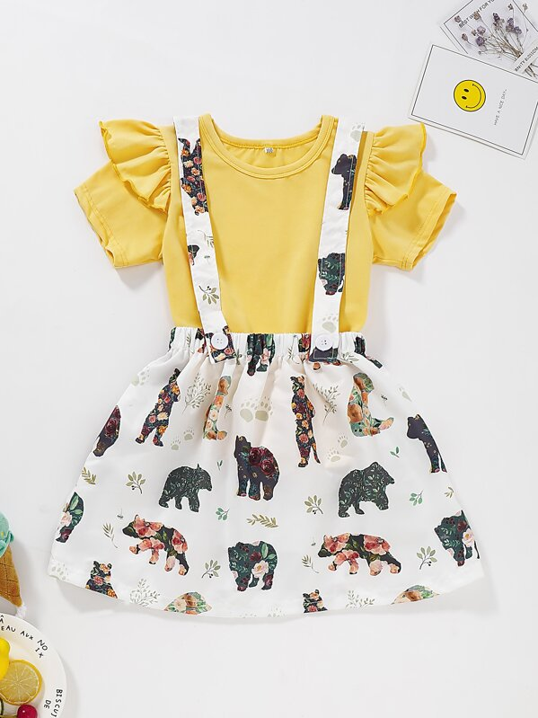 Toddler Girls Ruffle Tee With Floral Print Straps Skirt, null