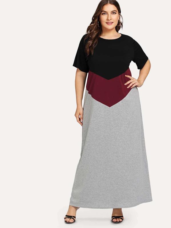 Plus Cut And Sew Panel Maxi Dress, Franziska