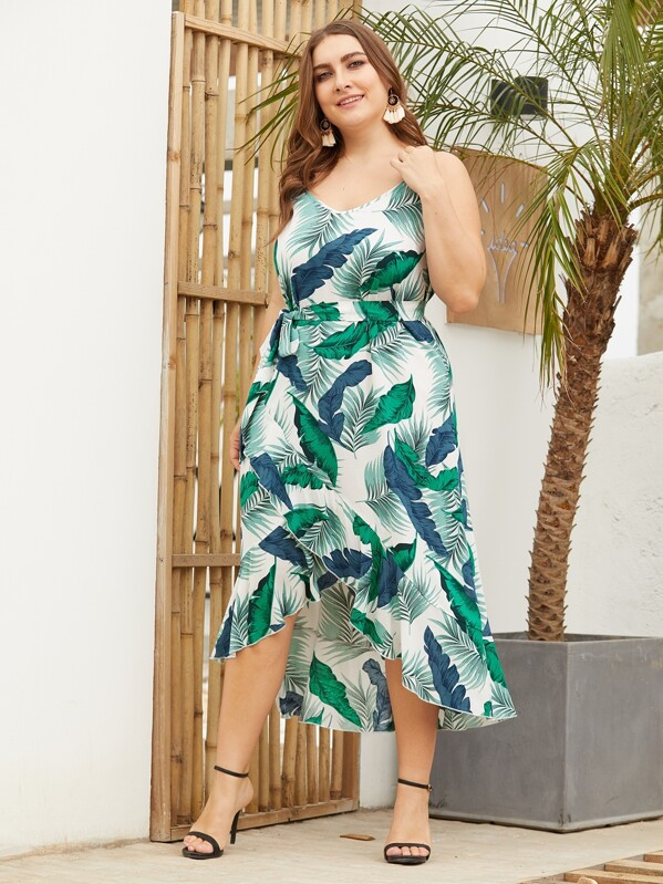Plus Palm Tree Tulip Hem Cami Dress, Franziska