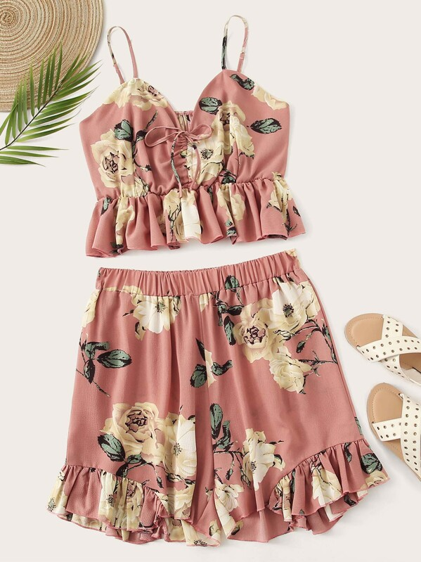 Plus Floral Print Ruffle Hem Cami Top With Shorts, null