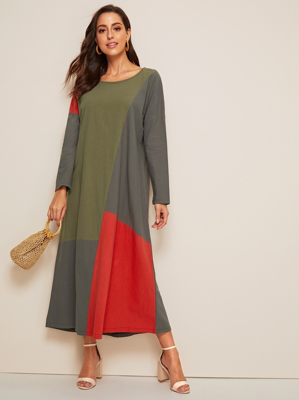 Spliced Drop Shoulder Maxi Dress, Mary P.