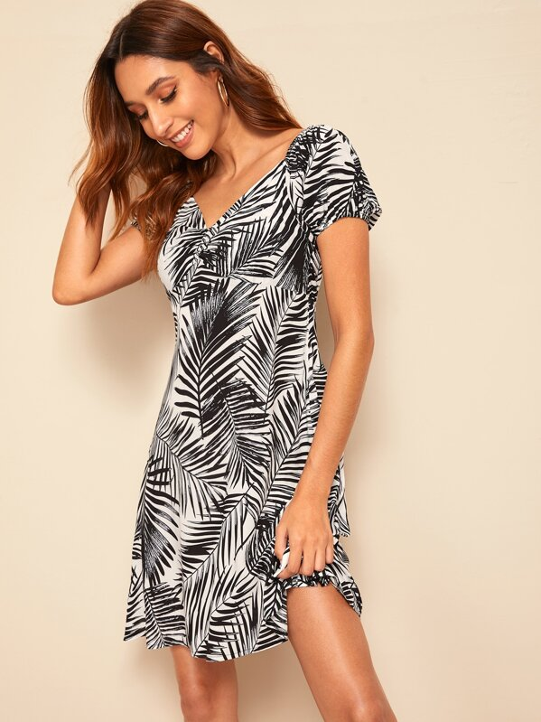 Ruched Front Sweetheart Neck Tropical Dress, Black and white, Gabi B