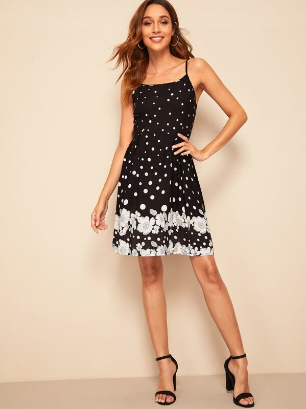 Floral and Polka Dot Print Cami Dress, Gabi B