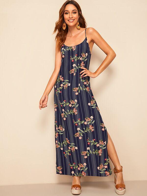Split Side Floral and Striped Print Cami Dress, Gabi B