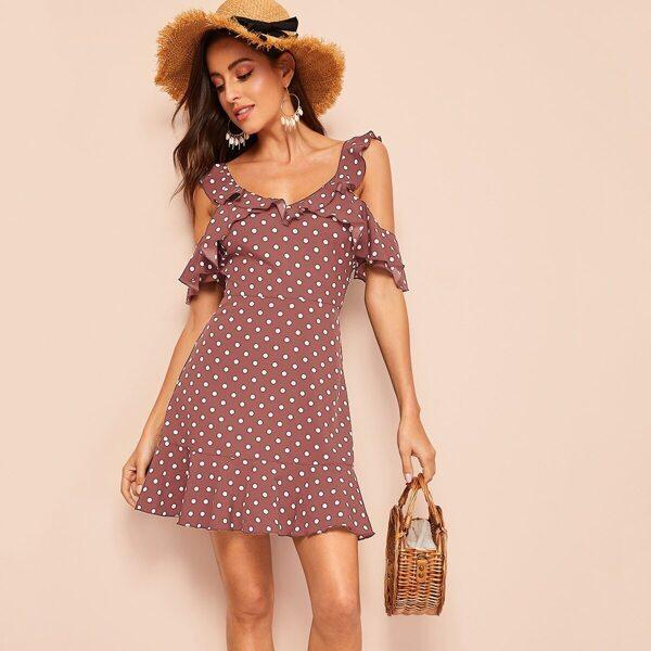 Cold Shoulder Ruffle Trim Polka Dot Dress