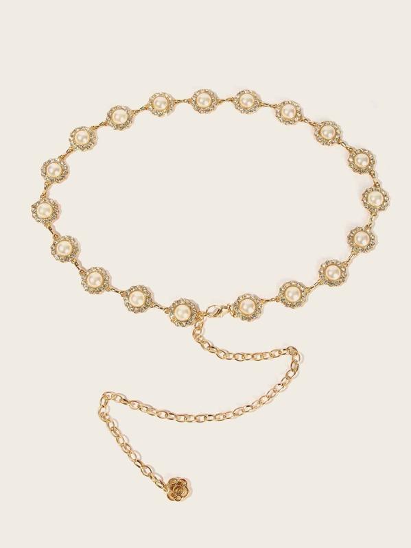 Rhinestone Detail Faux Pearl Embellished Chain Belt, null