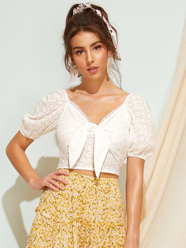 Tie Front Eyelet Embroidery Crop Blouse, MARTINA