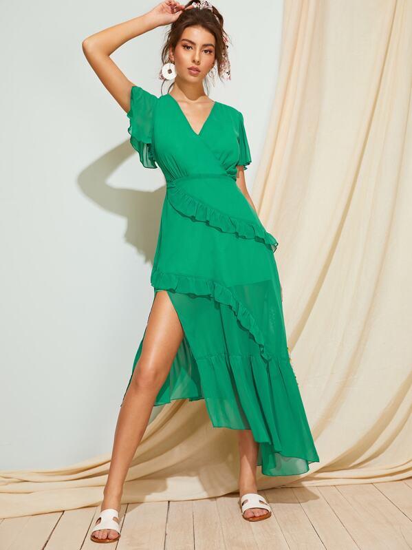 Surplice Front Ruffle Trim Asymmetrical Hem Dress, MARTINA