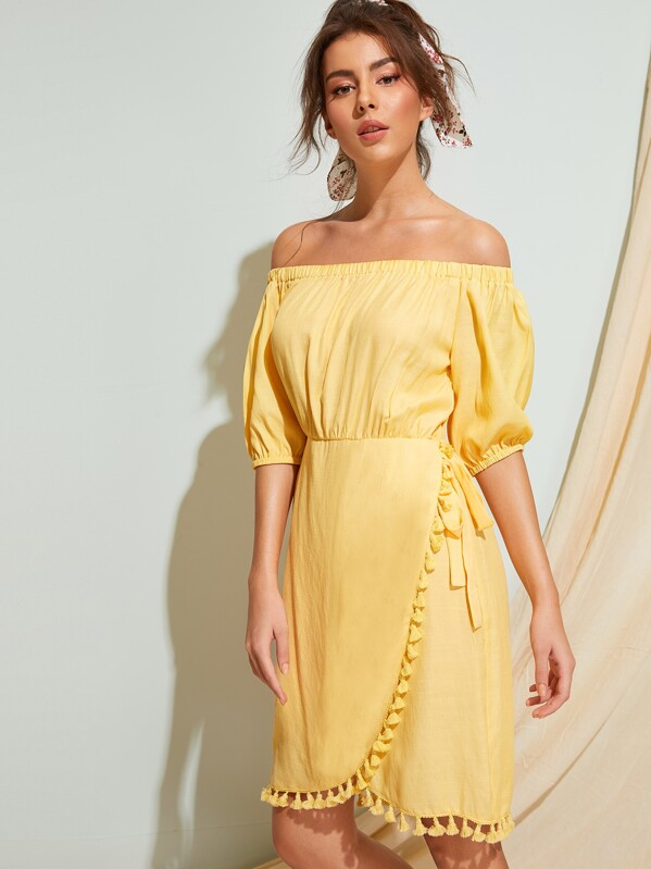 Off Shoulder Fringe Trim Wrap Dress, MARTINA