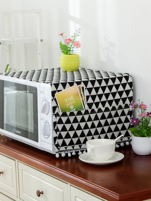 Geometric Pattern Wave Oven Cover, null
