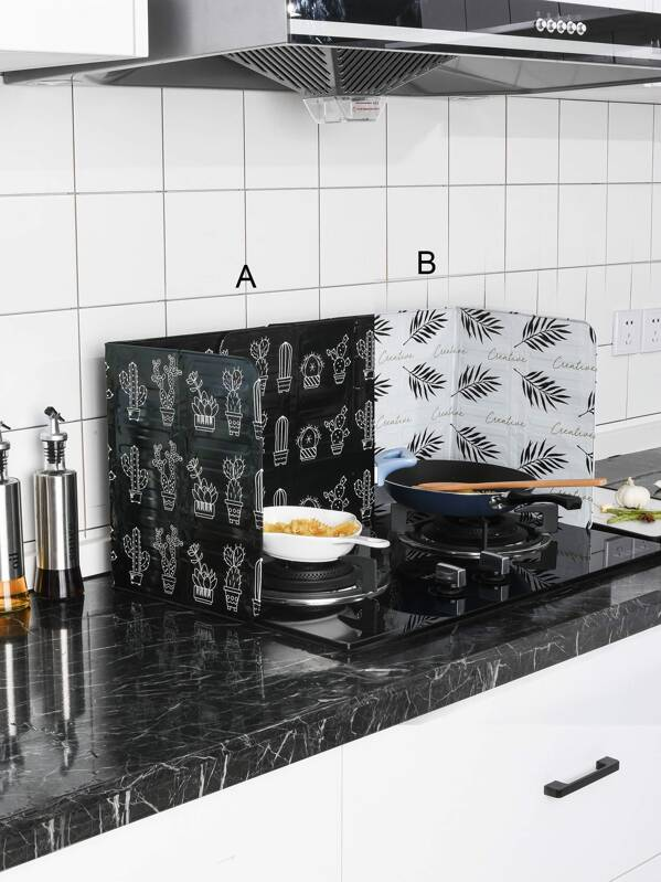 Plant Print kitchen Oil Baffle 1pc