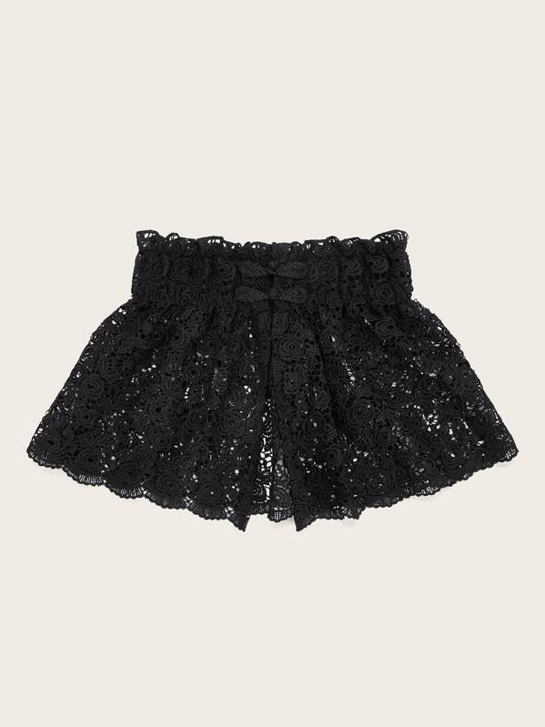 Frog Closure Buttons Detail Lace Wide Belt, null