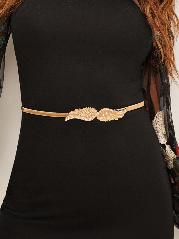 Rhinestone Decor Wings Shaped Buckle Skinny Waist Belt, null