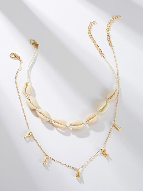 Letter & Shell Pendant Necklace 2pcs, null
