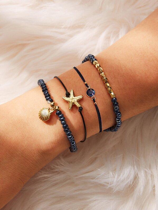 Shell & Starfish Detail Beaded Bracelet Set 4pcs