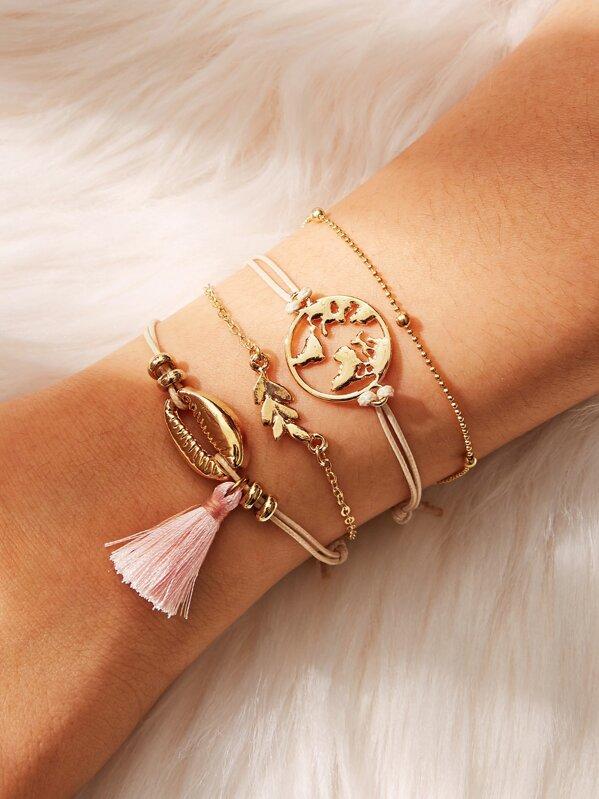 Tassel & Leaf Detail Bracelet Set 4pcs