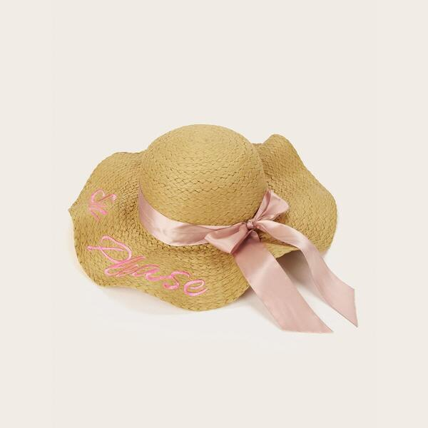 Girls Letter Embroidery Floppy Hat