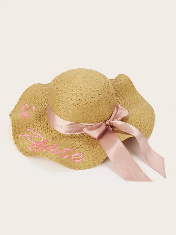 Girls Letter Embroidery Floppy Hat, Beige