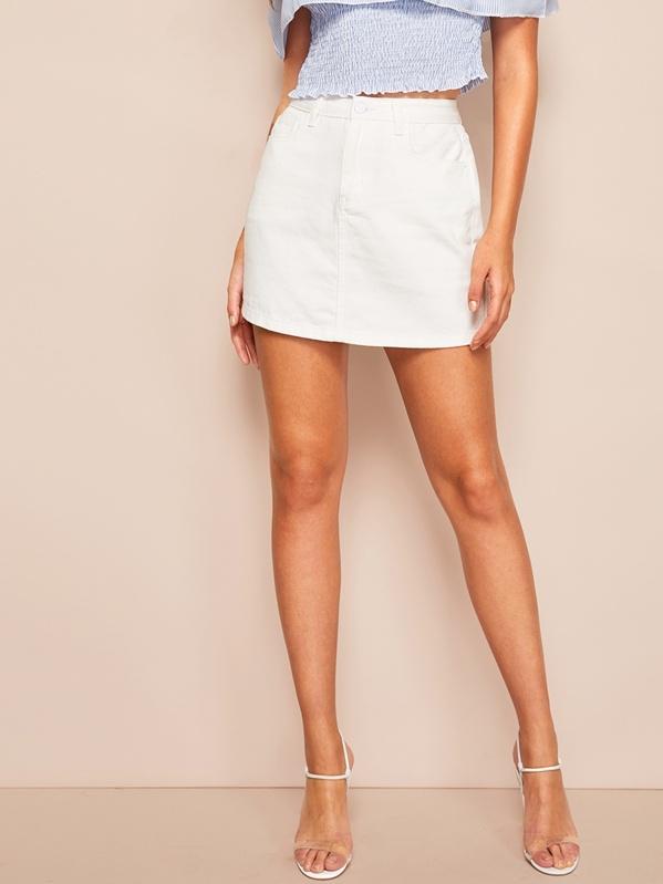 White Wash Denim Skirt, Luiza