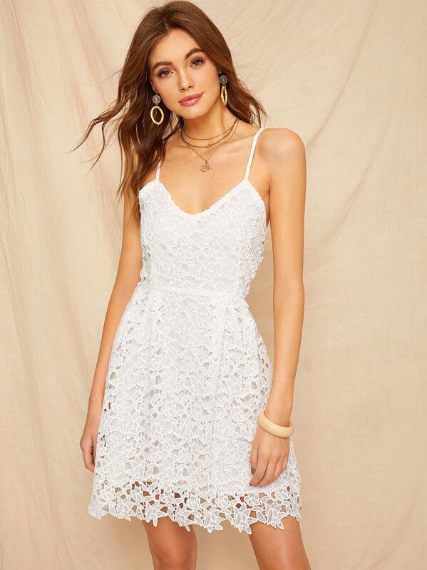 Guipure Lace Lace Up Cami Dress, Kristina B