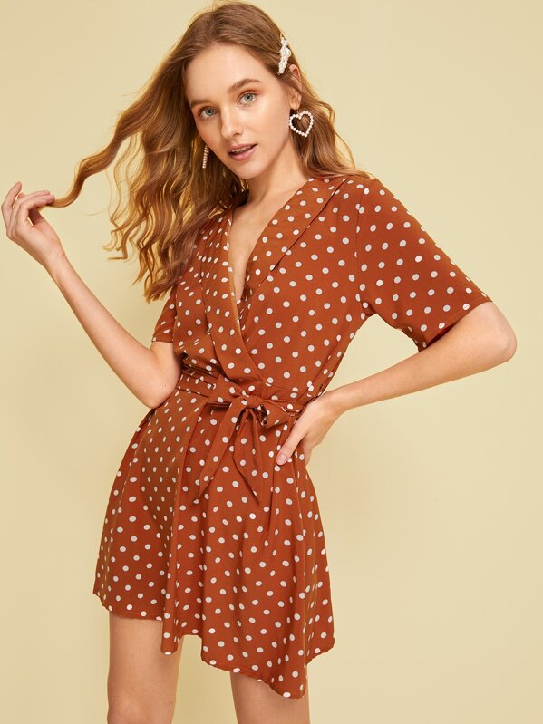 Polka Dot Print Belted Dress, Sava